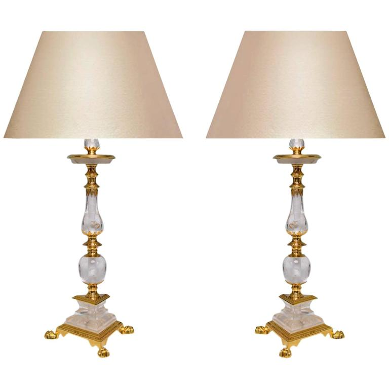 Pair of Fine Carved Ormolu-Mounted Rock Crystal Quartz Lamps For Sale