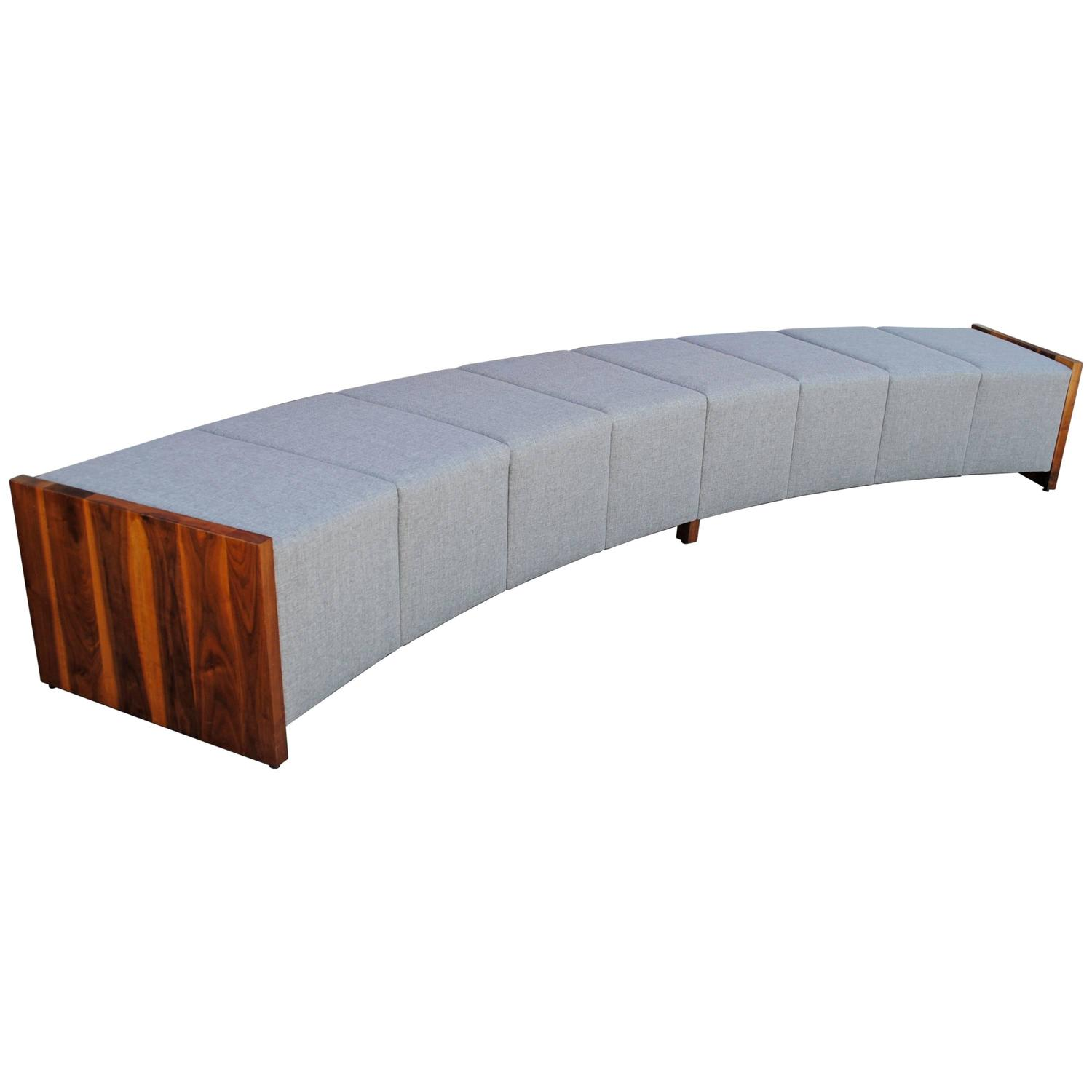#AE4E0D Large Modern Curved Upholstered And Walnut Bench For Sale At 1stdibs with 1500x1500 px of Best Large Upholstered Bench 15001500 image @ avoidforclosure.info