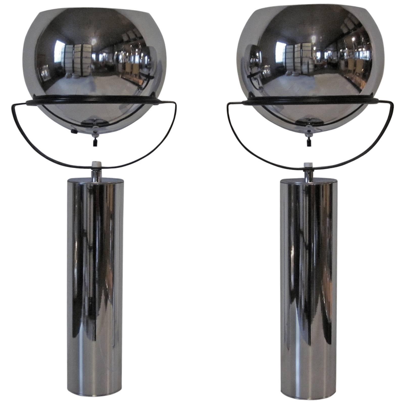 Robert Sonneman Adjustable Chrome Ball Table Lamps