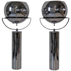 Robert Sonneman Adjustable Chrome Ball Table Lamps
