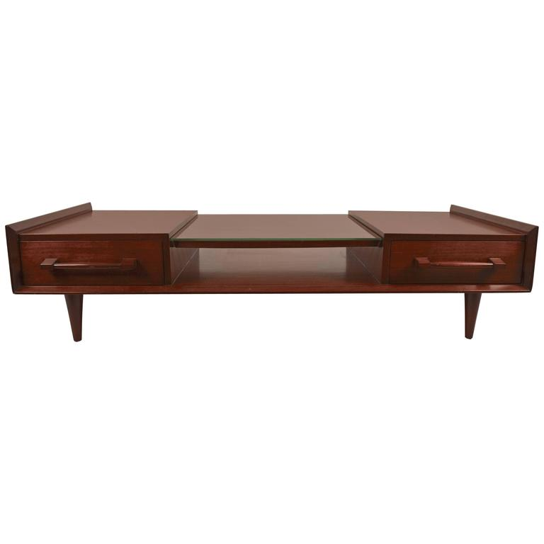 Mid Century Walnut And Glass Coffee Table For Sale At 1stdibs