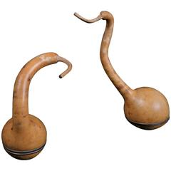 Early 20th Century Pair of Crane-Shaped Gourds, Kogo, from Seto, Japan