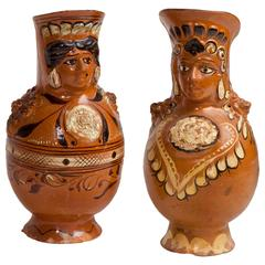 Pair of Old Mexican Pulque Pitchers