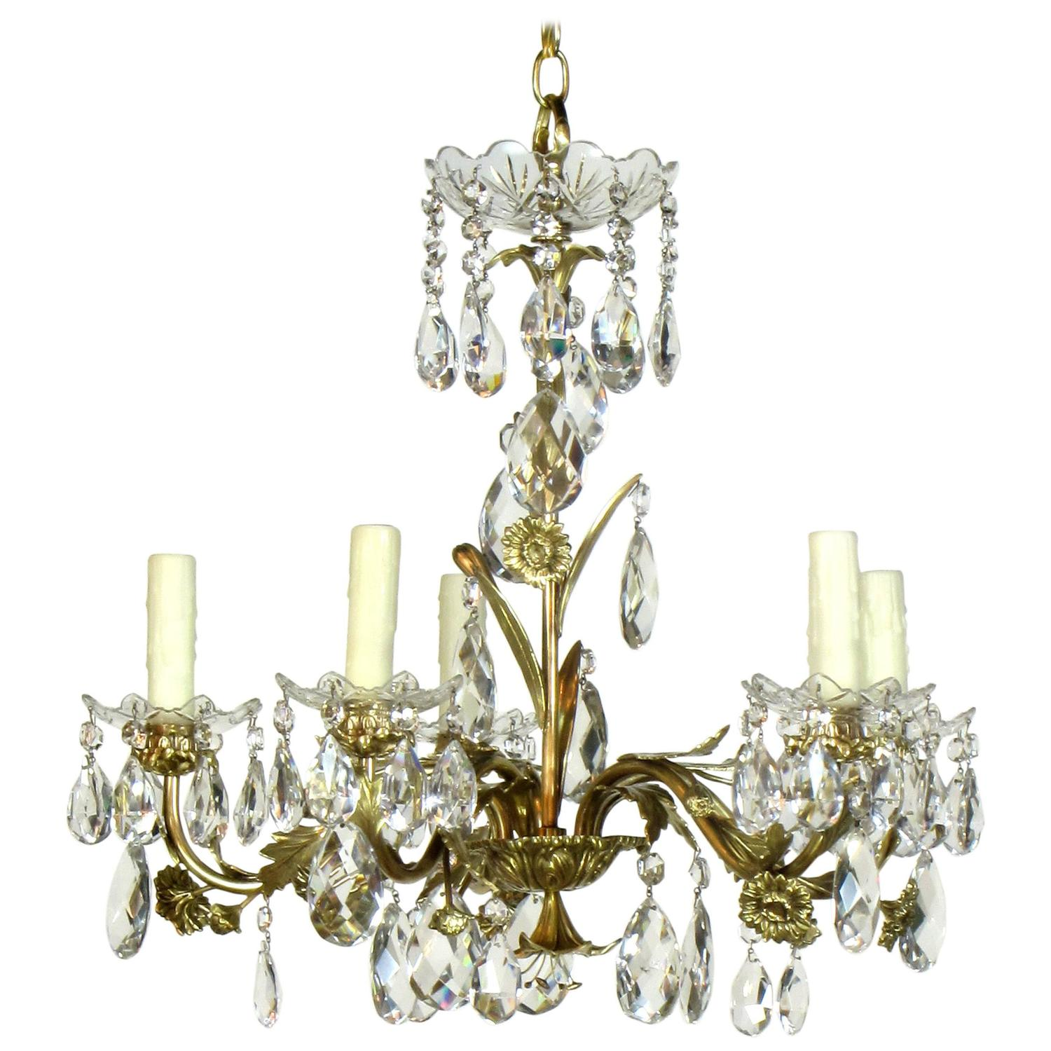 Red Aesthetic Chandelier: Five-Light Swedish Brass And Crystal Chandelier For Sale