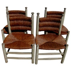 Set of Four 20th Century Rush Seat Chairs