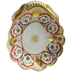 Antique English Geo. III Period Spode Porcelain Shell Shaped Dessert Dish