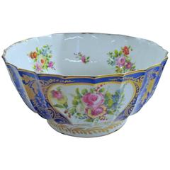 Antique Geo. III English Swansea Porcelain Large Punch Bowl, Hand-Painted