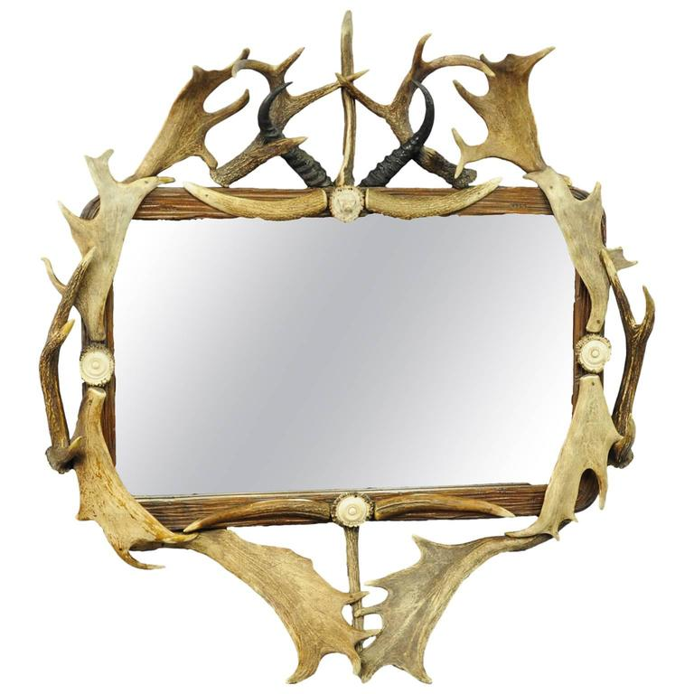 Antique Antler Frame with Rustic Antler Decorations and Mirror at ...