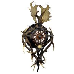 Antique Cabin Antler Wall Clock from Austria, circa 1900