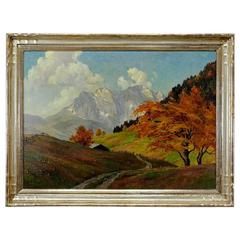 Tyrol Landscape Painting by Erwin Kettemann, circa 1930