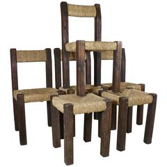 Four 1960s Rustic Chairs and Two Stools