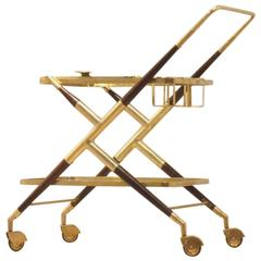 Cesare Lacca Mahogany and Brass Serving Trolley for Cassina