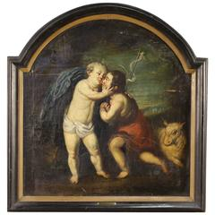 """17th Century Oil on Canvas Religious Painting """"Jesus and St. John"""""""