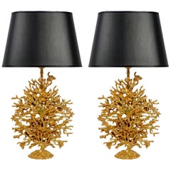 Pair Of Gold plated Metal Coral Table Lamps