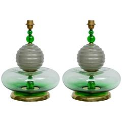 Pair of Italian Murano Handblown Glass Table Lamps