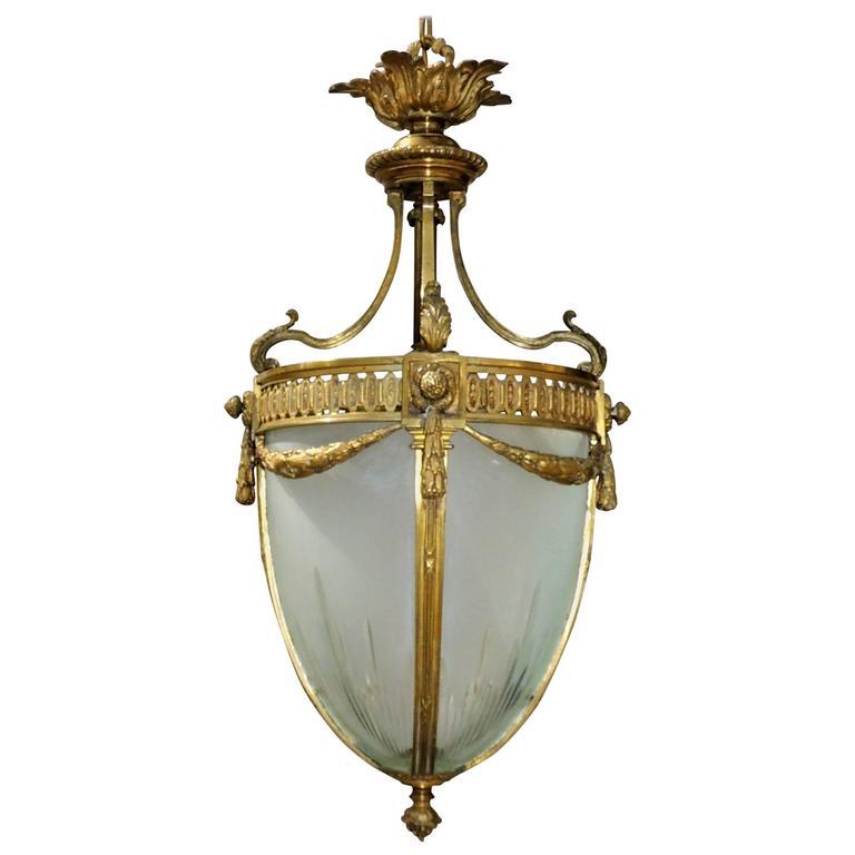 Elegant French Etched Glass & Bronze Filigree Draped Chandelier Lantern Fixture