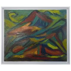 Marie Louise Garnavault French Modernist Abstract Landscape Oil Painting
