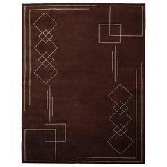 Handwoven Art Deco Style Rug by Didier Marien, Original Boccara