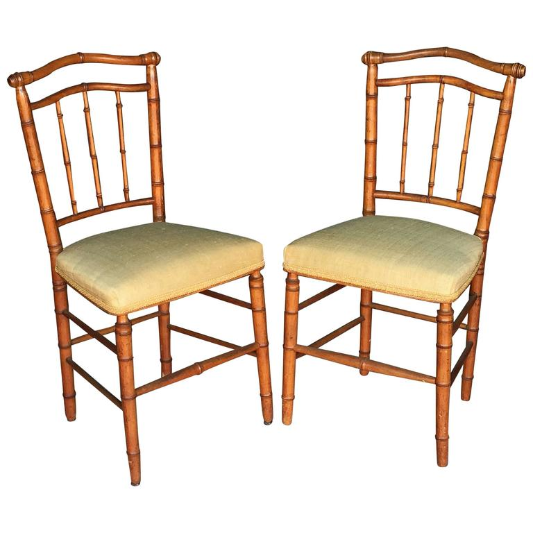 Pair of Faux Bamboo Chairs 1