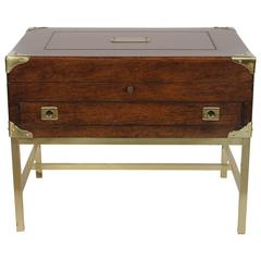 An English Brass Bound Oak Silver Chest with Custom Brass Stand