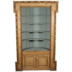 English Carved Pine Architectural Corner Cabinet, circa 1770