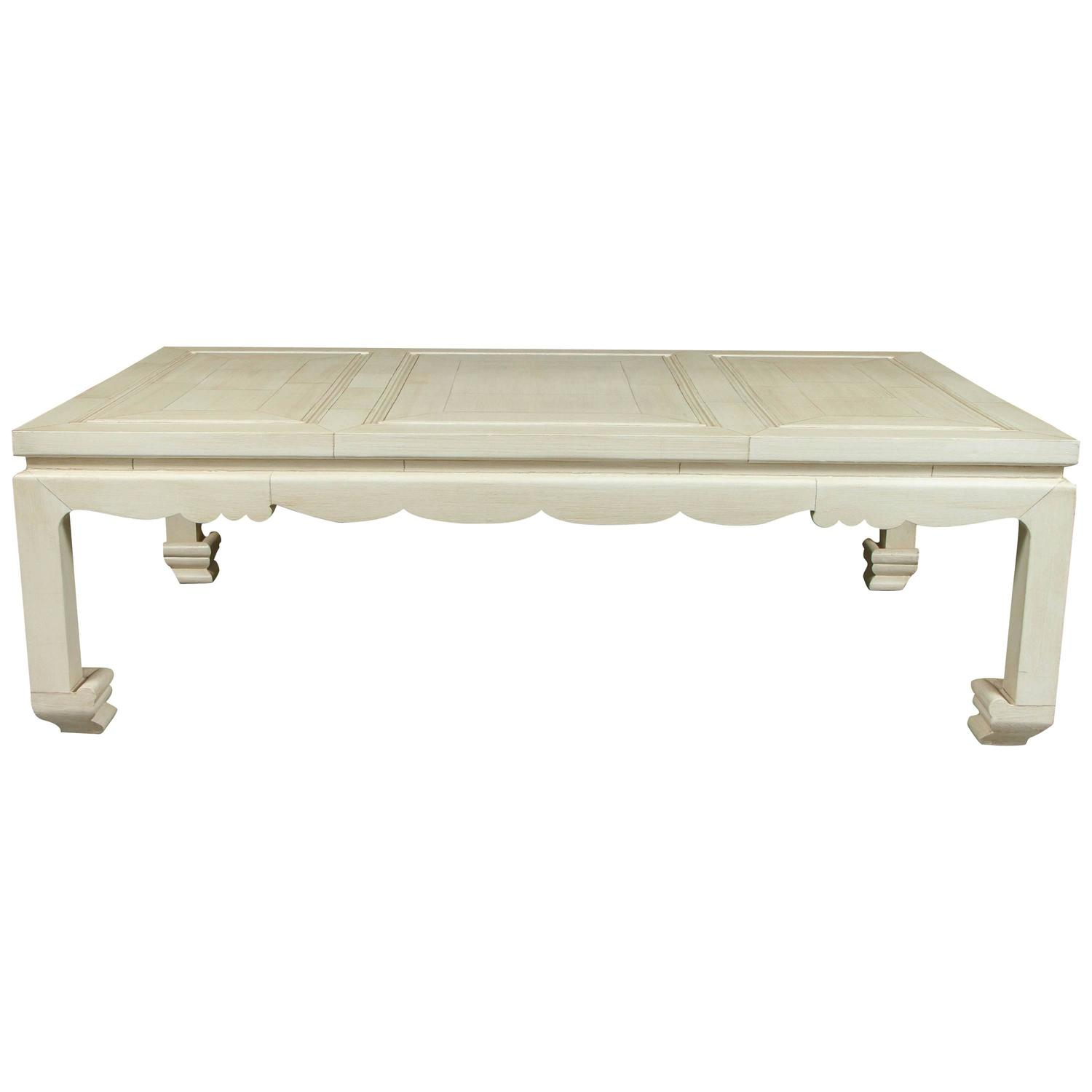 A Vintage Ming Style Coffee Table with a Faux Ivory Inlay Finish