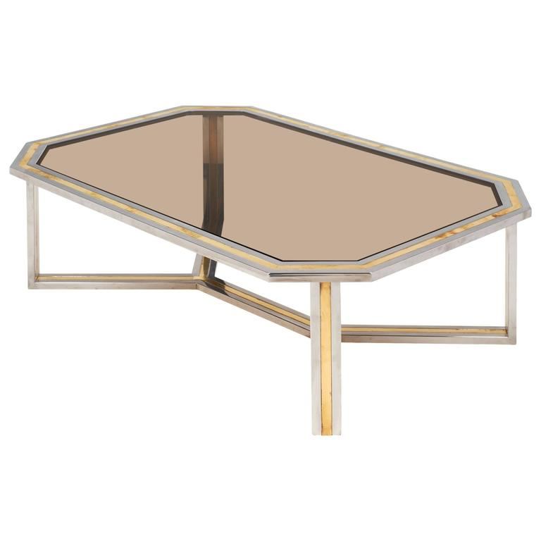 Italian Modernist Brass and Chrome Coffee Table by Romeo Rega