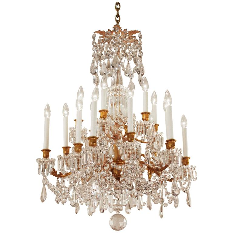 19th century french crystal and bronze doré chandelier by baccarat for sale