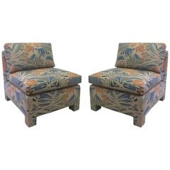 Slipper Chairs in Tropical Floral Pattern by Milo Baughman