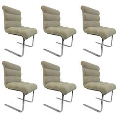 Six Polished Steel Chrome Pace Dining Chairs