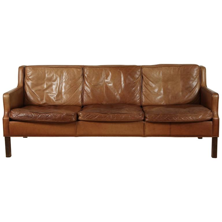 Saddle Leather Sofa By Børge Mogensen 1