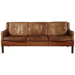 Saddle Leather Sofa by Børge Mogensen