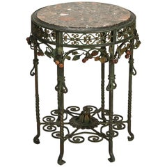 Small Center Table with Marble Top and Elaborate Iron Base