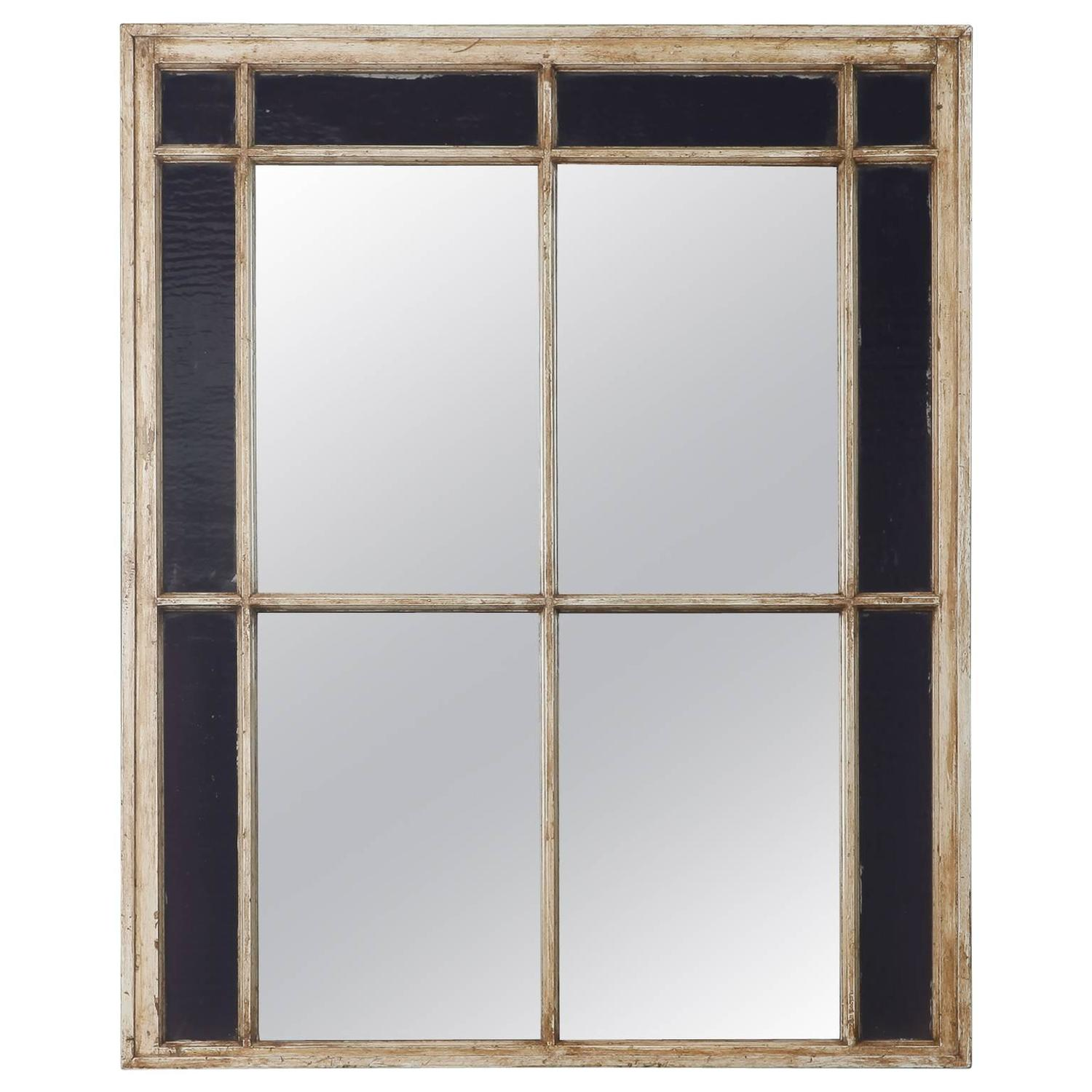 antique window frame mirror with original amethyst stained glass for sale at 1stdibs - Window Frame Mirror