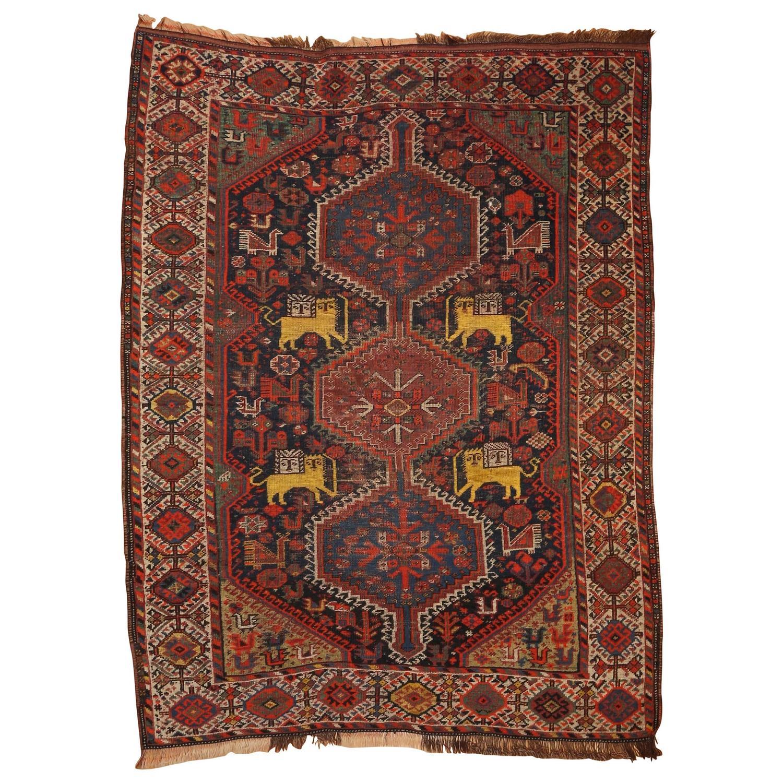 Rare Antique Pictorial Kashgai Lion Rug For Sale At 1stdibs