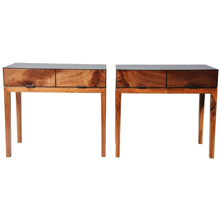 Pair of Nightstands with Hot Rolled Steel Case