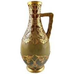 French, Sarreguemines Art Nouveau Pitcher in Ceramics, circa 1910