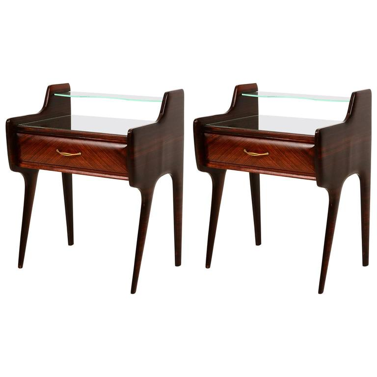 Pair of Italian Bed Side Tables or Nightstands after Ico Parisi For Sale
