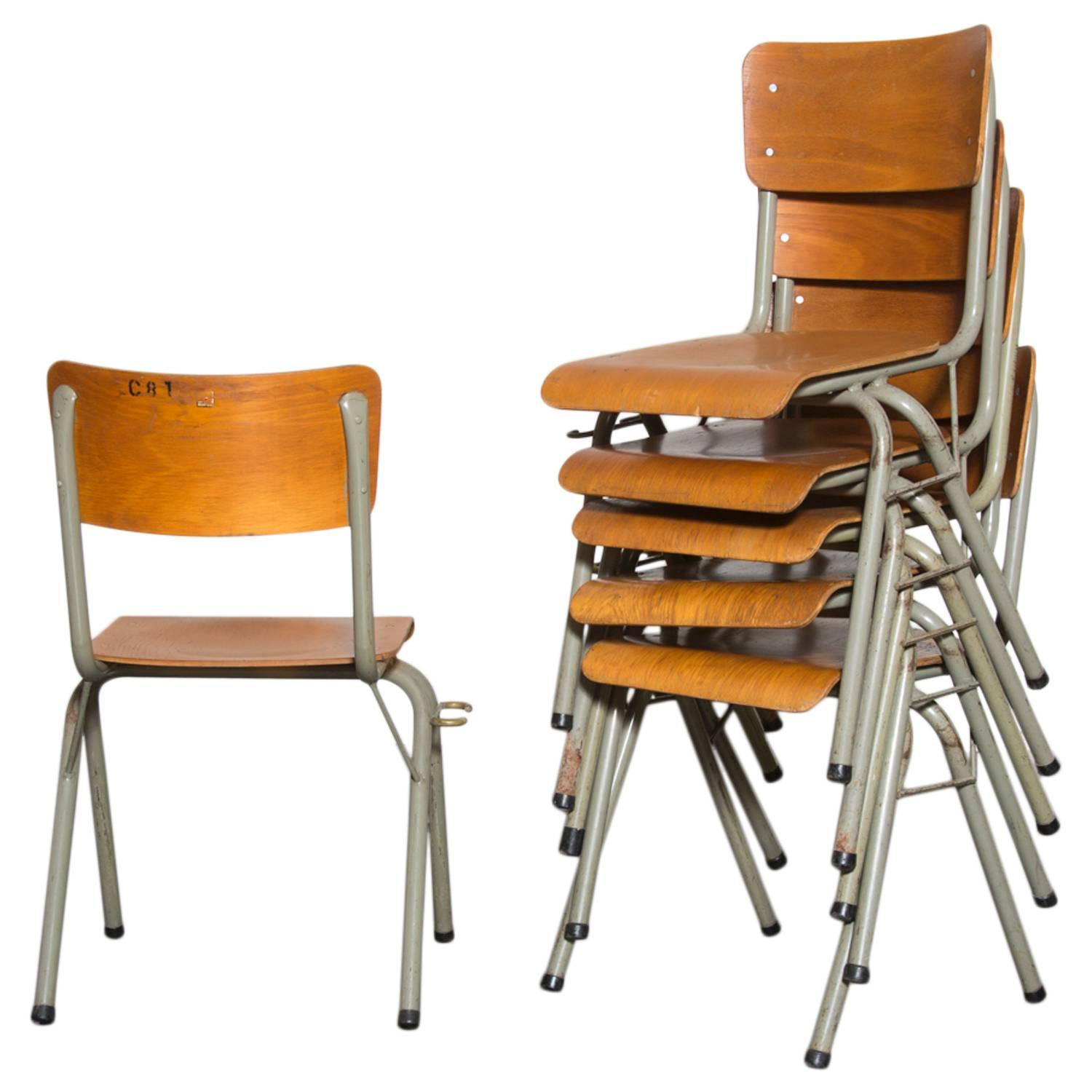 Tubax Birch Stacking School Chairs with Side Hooks For Sale at 1stdibs