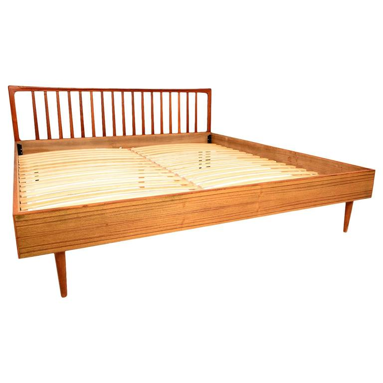 Danish Modern King Teak Bed Frame and Headboard at 1stdibs