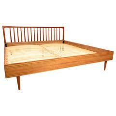 Danish Modern King Teak Bed Frame and Headboard