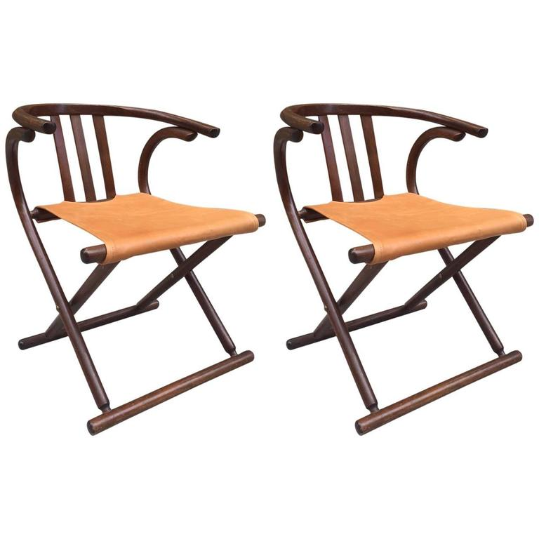 Pair of Thonet  Leather Bentwood Folding Chairs