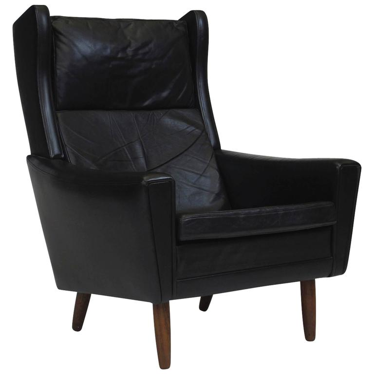 Mid Century Danish Black Leather Wingback Chair For Sale
