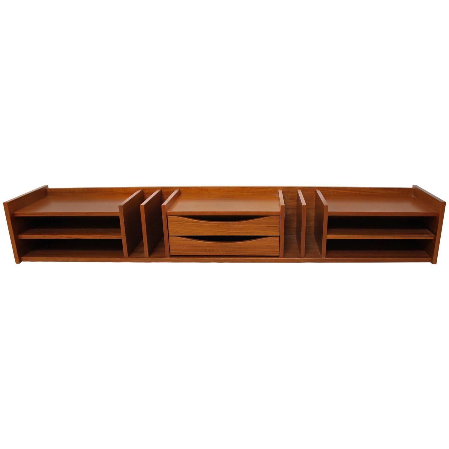 Danish modern teak desk organizer by pedersen and hansen - Designer desk accessories and organizers ...