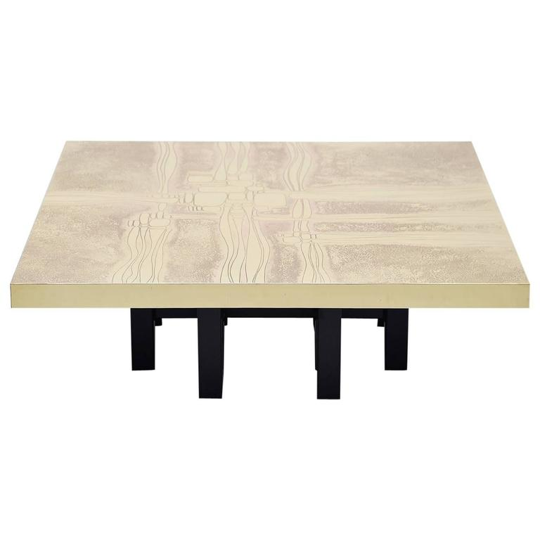 Lova Creations Etched Brass Coffee Table, Belgium, 1975