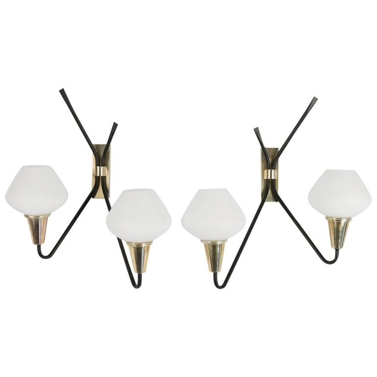 Pair of Asymmetrical Sconces by Maison Arlus, 1950