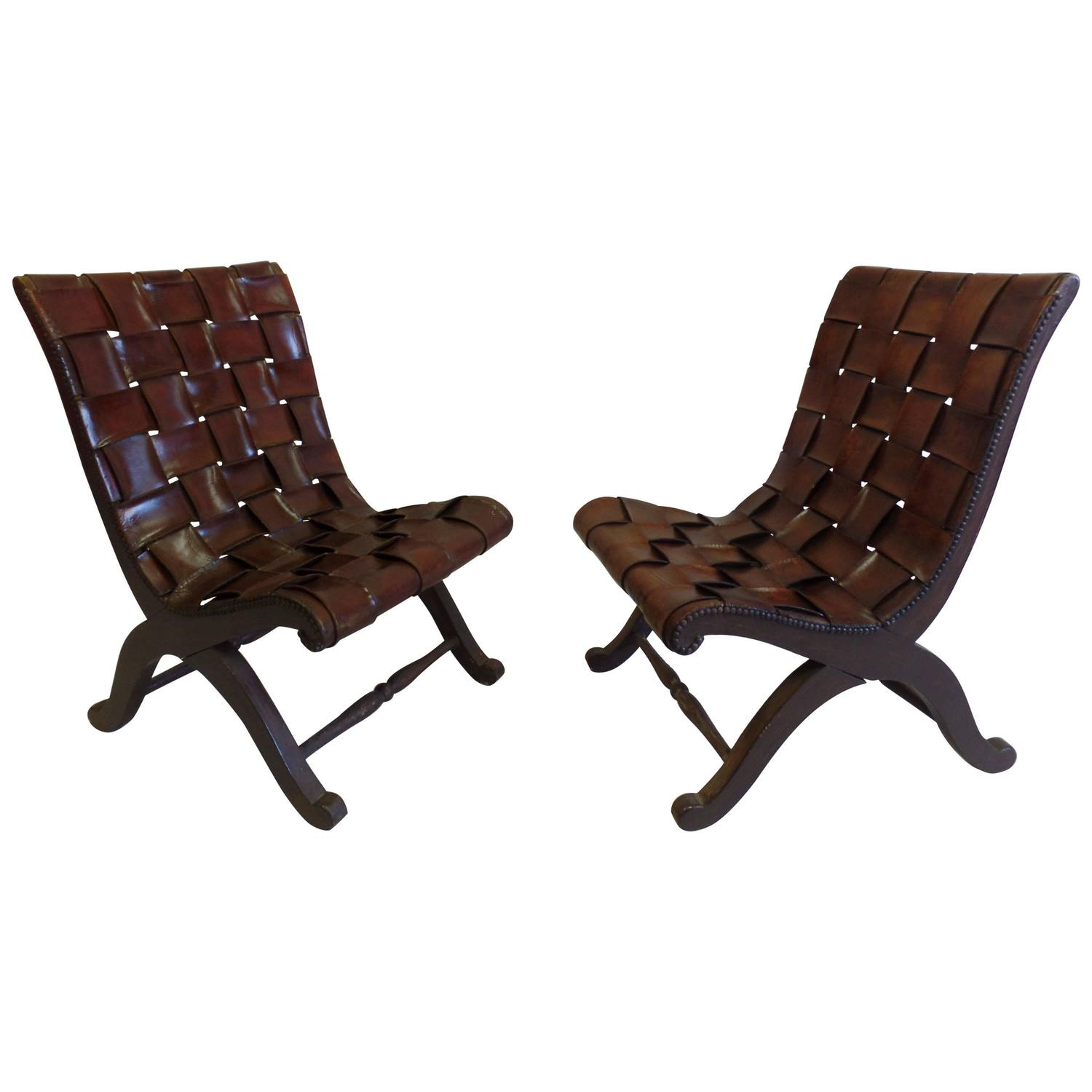 Pair of Spanish Modern Neoclassical Leather Strap Chairs by Pierre