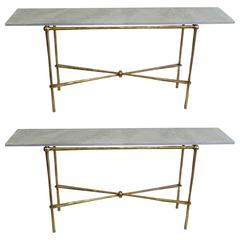 Two Important Italian Modern Neoclassical Consoles by Giovanni Banci
