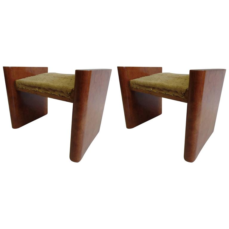 Pair of 1930s Italian Walnut Benches Attributed to Giuseppe Pagano