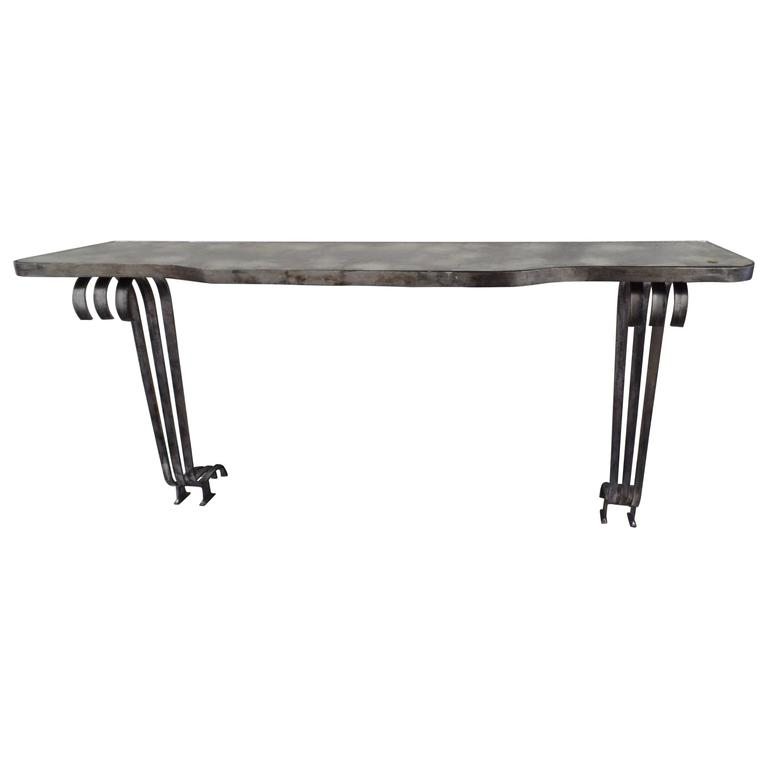 Large French Mid-Century Modern Silvered Iron Console, Attr. Raymond Subes, 1930 For Sale
